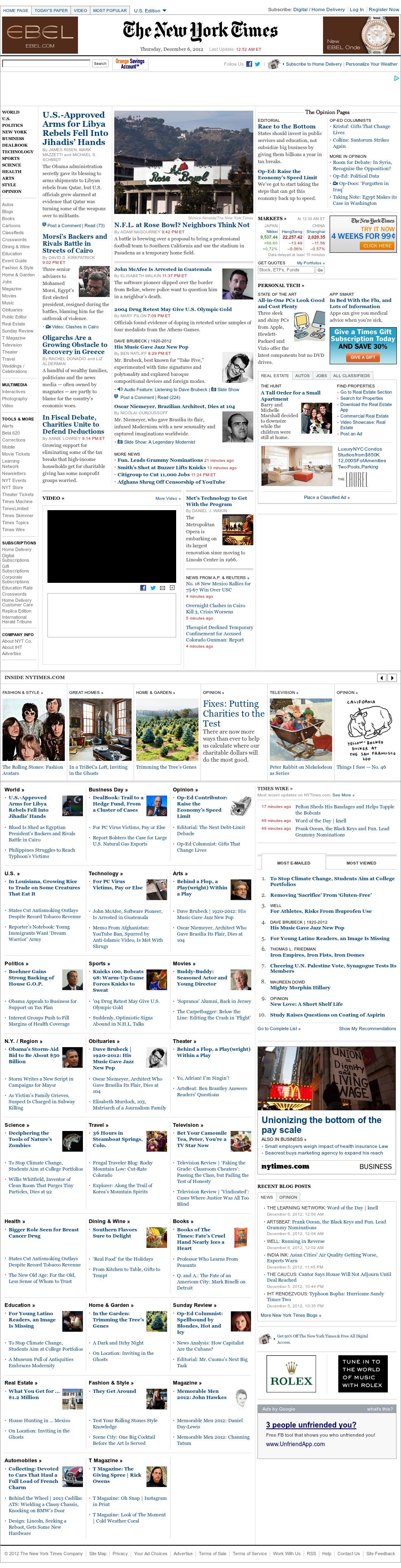 The New York Times at Thursday Dec. 6, 2012, 6:01 a.m. UTC